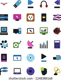 Vector icon set - monitor vector, mobile shopping, notebook pc, cd, quadrocopter, head chip, calculator, usb flash, graphic equalizer, portable speaker, sound graph, play button, fast forward, rca