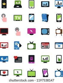 Vector icon set - monitor vector, site, mobile shopping, tv, app, laptop graph, dollar, heart, touch, flexible phone