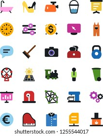 Vector icon set - mop vector, bucket, trash bin, bath, woman shoes, shirt, overalls, eoro sign, train, ferris wheel, clock, weight, gears, dollar shine, neural network, sun panel, man, presentation