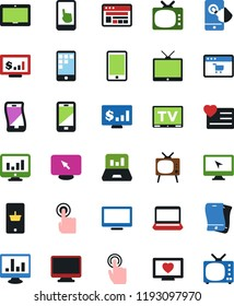 Vector icon set - notebook vector, monitor, site, mobile shopping, tv, app, laptop graph, dollar, heart, touch, flexible phone