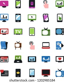 Vector icon set - notebook vector, monitor, mobile shopping, site, tv, app, laptop graph, dollar, heart, touch, flexible phone