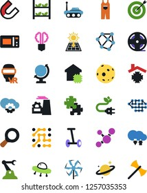 Vector icon set - overalls vector, factory, economy bulb, neural network, molecule, globe, moon, space rover, ufo, saturn, hoverboard, magnifier, target, puzzle, circuit, magnet, industrial robot