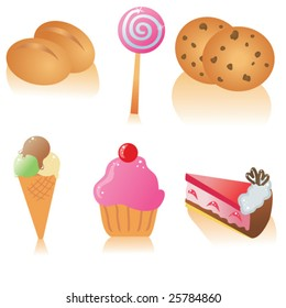 Vector icon set of pastry