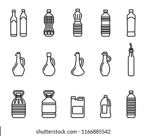 Vector icon set of pictures of different types of oil for cooking. Group bottles of oil for frying