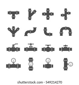 Vector icon set pipe parts. Simple silhouettes of tubes, valves, taps and pipe connectors. Pipeline and sewer systems.
