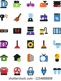 Vector icon set - plunger vector, broom, vacuum cleaner, welcome mat, toilet, office building, smart house, power plug, dishwasher, meat grinder, multi cooker, toaster, blender, hair dryer, fan, tv
