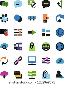 Vector icon set - protected payment vector, world, dialog, cloud music, connection, notebook network, server, glass, equalizer, menu, shield, firewall, hub, usb modem, message, arrow, refresh, redo