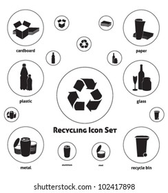 Vector icon set of recyclable materials for waste management labels, publications, infographics, etc. - Black