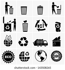 Vector icon set of recyclable materials for waste management