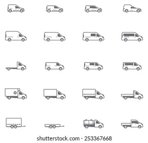 Vector icon set representing commercial transport - cars, vans, trucks