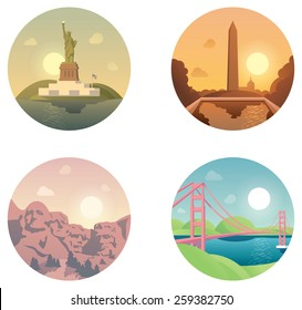 Vector icon set representing United States of America travel destinations. Statue of Liberty in New York,  Washington Monument, Mount Rushmore and San Francisco Golden Gate bridge