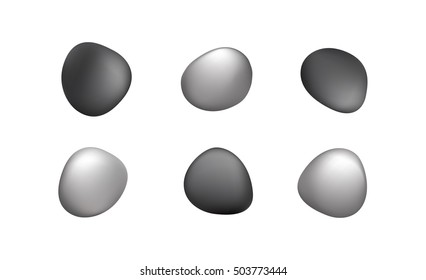 Vector icon set of round smooth irregular stones or ovals with Vector Gradient Mesh in gray black and white neutrals