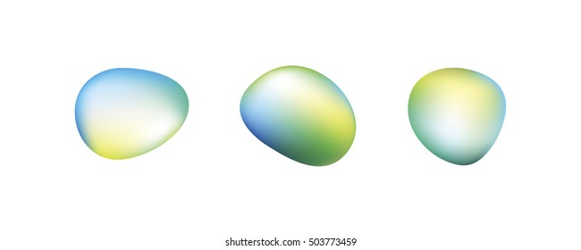 Vector icon set of round smooth irregular stones or ovals with Vector Gradient Mesh Colorful Background with Blue, Cyan, Green, and Yellow Colors