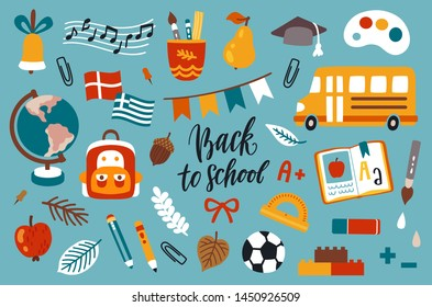 Vector icon set with school elements: yellow school bus, globe, ball, book, school bag, apple, stationery and autumn leaves. Back to school poster with hand written text.