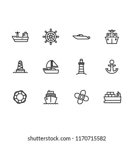 Vector icon set sea ship, sailing boat, steering wheel, yacht, sail, lighthouse and propeller. Outline vector icon water transportation isolated on white background