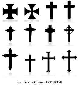 Vector icon set showing crosses in different patterns and designs