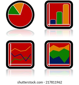 Vector icon set showing four different colorful types of graphs