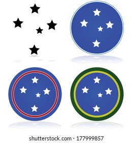 Vector icon set showing a stylized version of the Southern Cross constellation