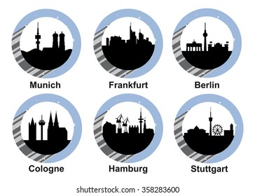 Vector icon set with skyline of German cities Munich, Frankfurt, Berlin, Cologne, Hamburg and Stuttgart