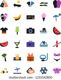 Vector icon set - slippers vector, flip flops, diving, pool, drink, beach, lounger, banana, watermelone, flippers, ice cream, hotel, bungalow, palm, pyramid, swimsuit, t shirt, parasol, suitcase