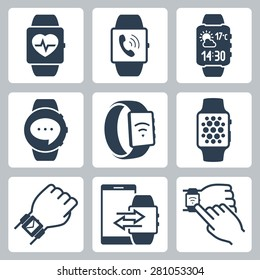 Vector icon set of smart watches