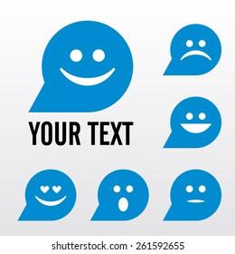 Vector icon set smiley face - smile, surprise, sad, loving. Bubble shape. Color blue. Eps 10 vector file.
