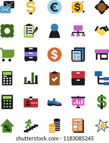 Vector icon set - snickers vector, handshake, identity, dollar sign, calculator, meeting, eoro, store, archive, player figure, graph, cart, percent growth, hierarchy, any currency, stairways run