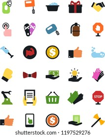 Vector icon set - soap vector, foam basin, rubber glove, flip flops, bow tie, handshake, document in hand, paying, finger up, gift, dollar coin, muscule, boxing, touch, idea, industrial robot, stop