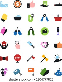 Vector icon set - soap vector, foam basin, rubber glove, house hold, flip flops, bow tie, handshake, document in hand, basket, finger up, dollar coin, trainer, muscule, boxing, touch, idea, stop