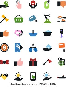 Vector icon set - soap vector, foam basin, house hold, flip flops, bow tie, handshake, basket, finger up, down, gift, dollar coin, investment, boxing glove, touch, idea, industrial robot, mobile