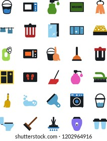 Vector icon set - soap vector, plunger, scraper, broom and bucket, fetlock, mop, scoop, sponge, towel, trash bin, window cleaning, welcome mat, toilet, drying clothes, washer, liquid, shining