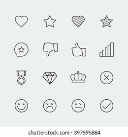 Vector icon set of social media labels for rating