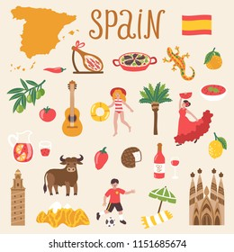 Vector icon set of Spain's symbols. Travel illustration with Spanish landmarks, food, people and symbols.