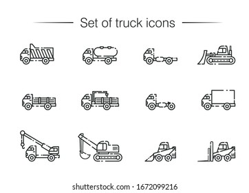Vector icon set of special trucks for construction, build, transportation, logistics, repair. Trucks, bulldozer, loader, crane, chassis, tank, van. Linear art style. Black and white objects on white