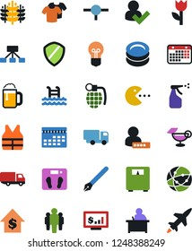 Vector icon set - sprayer vector, plates, t shirt, truck, user sign in, pen, student, pool, pc game, dollar growth, man, calendar, monitor, scales, cereals, bulb, connect, connection, shield, drink