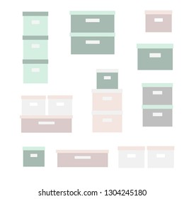 Vector icon set storage box. Stacked cardboard storage boxes with closed lid. Packaging collection. Vector illustration. Closet organization. House keeping. Tidy up. Declutter and tidying up concept