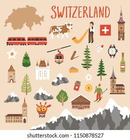 Vector icon set of Switzerland's symbols. Travel illustration with Swiss landmarks, mountain, people and symbols.