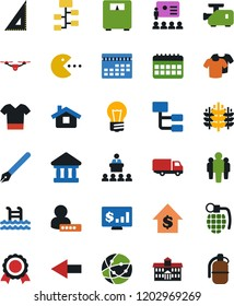 Vector icon set - t shirt vector, truck, user sign in, pen, university, corner ruler, medal, pool, pc game, dollar growth, man, hierarchy, calendar, monitor, scales, cereals, quadrocopter, bulb