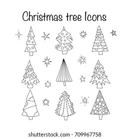 Vector icon set with thin line outline symbols of Christmas trees. New year doodle signs.