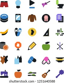 Vector icon set - toilet vector, plates, bodysuits, undershirt, jacket, bulb, pencil, corner ruler, apple fruit, guitar, pc game, coin stack, buttocks, pills, mobile, play button, playlist, stop