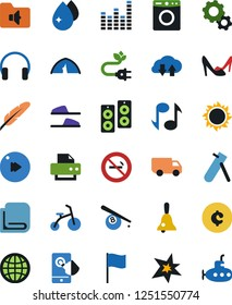 Vector icon set - towel vector, water drop, slippers, woman shoes, gear, printer, pen, bell, note, billiards, tent, cent sign, no smoking, green energy, flag, touch mobile, truck, graphic equalizer
