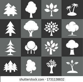 Vector icon set of Tree EPS10