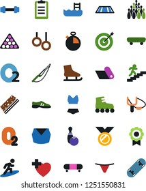 Vector icon set - underpants vector, sport top, bowling, billiards, skates, slingshot, fishing, barbell, stopwatch, clipboard, snickers, swimsuite, roller, skateboard, medal, stairways run, breads