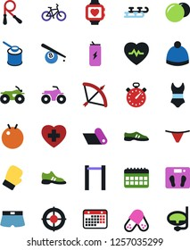 Vector icon set - underpants vector, sport hat, stopwatch, bow, billiards, skates, atv, scales, heart pulse, bike, jump rope, horizontal bar, fitball, snickers, boxing glove, shorts, swimsuite, mat
