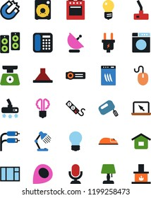 Vector icon set - vacuum cleaner vector, bulb, table lamp, economy, magnet, rca, guitar pick, power plug, washer, dishwasher, mixer, hood, oven, kitchen scales, speaker, phone, microphone, projector