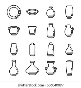 Vector icon set of various kitchenware on white background