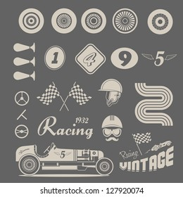 Vector icon set of vintage car racing