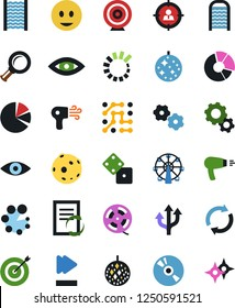 Vector icon set - washboard vector, gear, document workflow, circle chart, fun, cd, film roll, dice, disco ball, ferris wheel, moon, target, circuit, audience, graph, magnifier, advisor, dicso