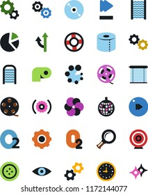 Vector icon set - washboard vector, toilet paper, clothes button, gear, cd, film roll, pie graph, oxygen, nuclear fusion, atom core, target, magnifier, gears, clock, advisor, fast forward, dicso