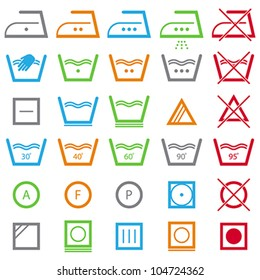 Vector icon set of washing signs and care label. Easy to edit.